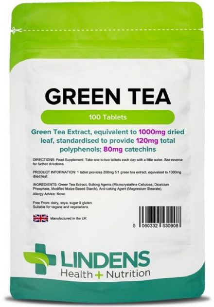 Green Tea 1000mg x 100 Tablets; Quality Standardised Extract; Fat Loss; Lindens